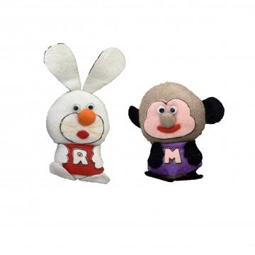 Hanging Monkey and Rabbit Plushie