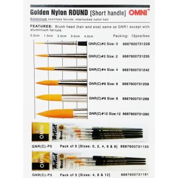 Omni Golden Nylon Brush Set (Round/Flat)