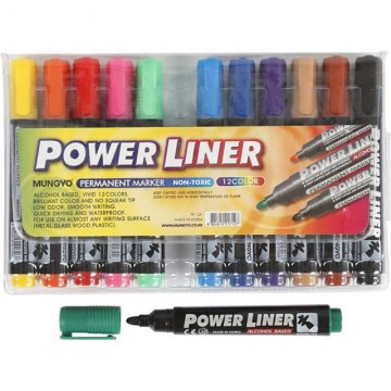 Mungyo Power Liner Permanent Markers (12 colours)