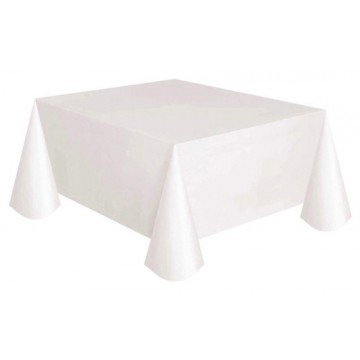 "Plastic Disposable Table Cover White 70"" x 70"" (10 pieces/packet)"