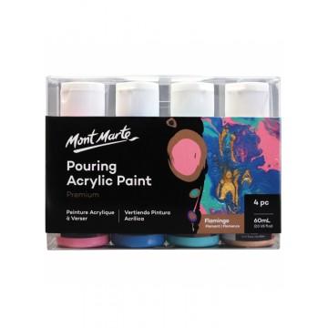 Mont Marte Premium Pouring Acrylic Paint 60ml (2oz) 4pc Set - Flamingo